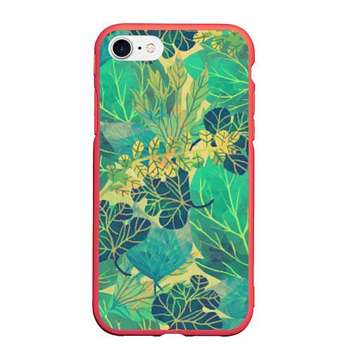 Чехол iPhone 7/8 матовый Узор из листьев / 3D-Красный – фото 1