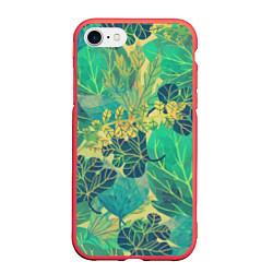 Чехол iPhone 7/8 матовый Узор из листьев