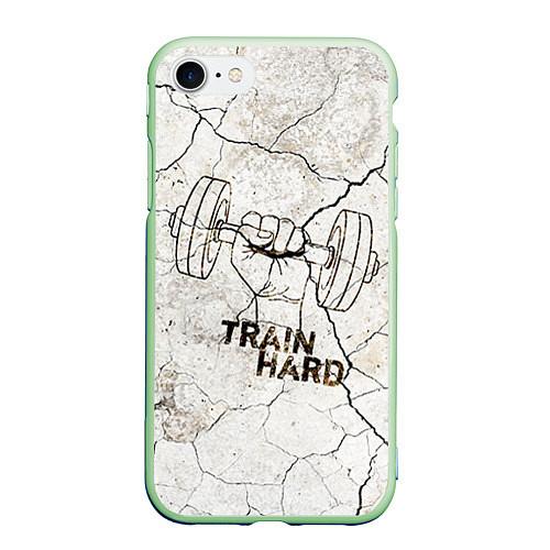 Чехол iPhone 7/8 матовый Train hard / 3D-Салатовый – фото 1