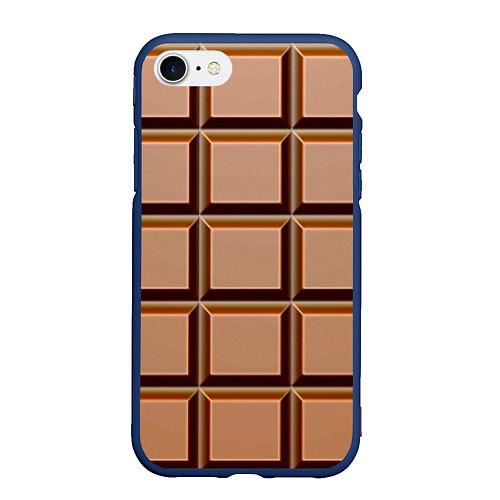Чехол iPhone 7/8 матовый Шоколад / 3D-Тёмно-синий – фото 1