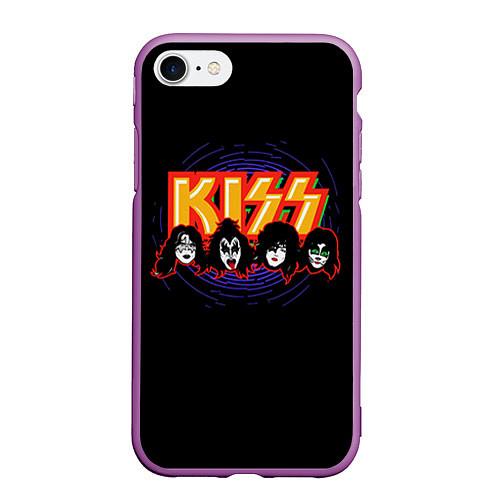 Чехол iPhone 7/8 матовый KISS: Death Faces / 3D-Фиолетовый – фото 1