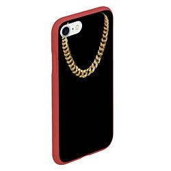 Чехол iPhone 7/8 матовый Золотая цепь цвета 3D-красный — фото 2