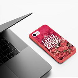 Чехол iPhone 7/8 матовый Лучшая бабушка цвета 3D-красный — фото 2