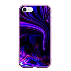 Чехол iPhone 7/8 матовый Цветные разводы цвета 3D-фиолетовый — фото 1