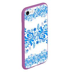 Чехол iPhone 7/8 матовый Гжель цвета 3D-фиолетовый — фото 2