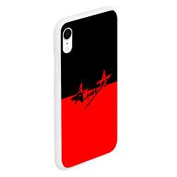 Чехол iPhone XR матовый АлисА: Черный & Красный цвета 3D-белый — фото 2