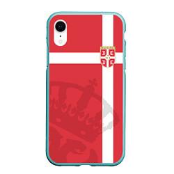 Чехол iPhone XR матовый Сборная Сербии цвета 3D-мятный — фото 1