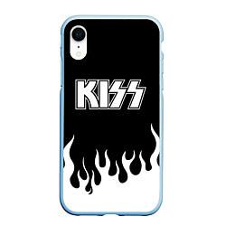 Чехол iPhone XR матовый Kiss цвета 3D-голубой — фото 1