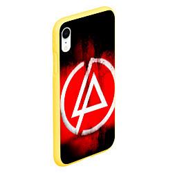 Чехол iPhone XR матовый Linkin Park: Red style цвета 3D-желтый — фото 2