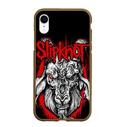 Чехол iPhone XR матовый Slipknot цвета 3D-коричневый — фото 1