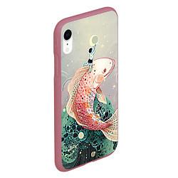 Чехол iPhone XR матовый Рыба цвета 3D-малиновый — фото 2