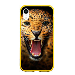 Чехол iPhone XR матовый Рык леопарда цвета 3D-желтый — фото 1