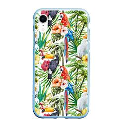 Чехол iPhone XR матовый Попугаи в тропиках цвета 3D-голубой — фото 1