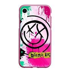 Чехол iPhone XR матовый Blink-182: Purple Smile цвета 3D-малиновый — фото 1