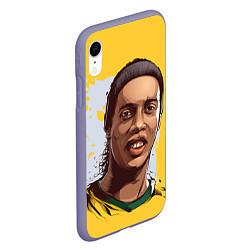 Чехол iPhone XR матовый Ronaldinho Art цвета 3D-серый — фото 2