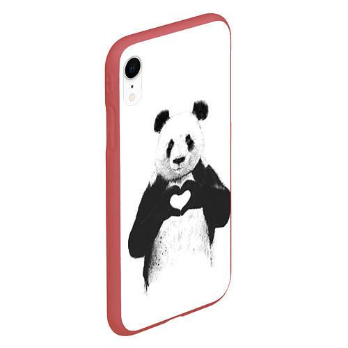 Чехол iPhone XR матовый Panda Love / 3D-Красный – фото 2