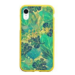 Чехол iPhone XR матовый Узор из листьев