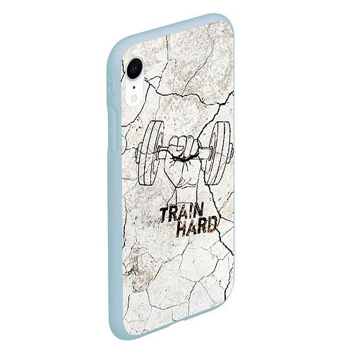 Чехол iPhone XR матовый Train hard / 3D-Голубой – фото 2