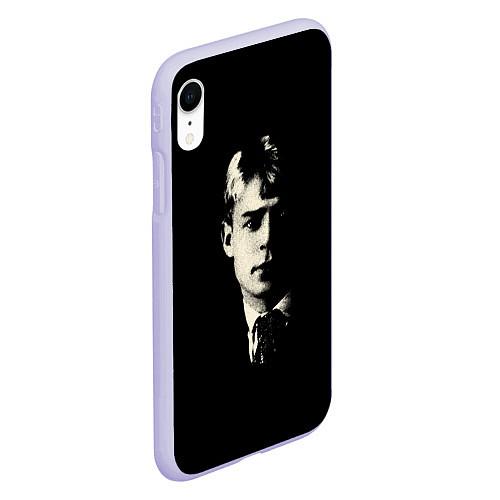 Чехол iPhone XR матовый Есенин Ч/Б / 3D-Светло-сиреневый – фото 2