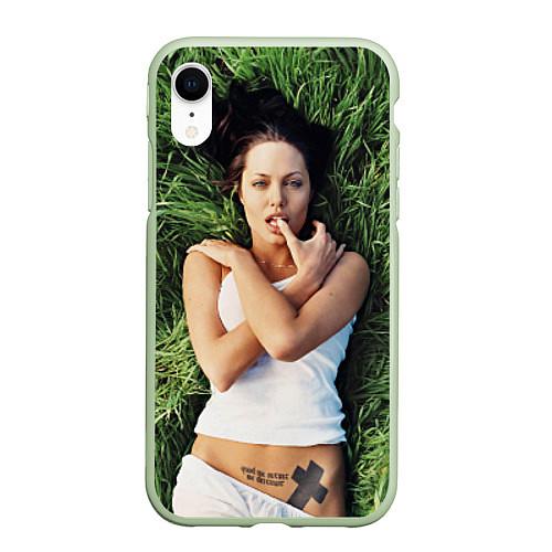 Чехол iPhone XR матовый Анджелина Джоли / 3D-Салатовый – фото 1