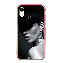 Чехол iPhone XR матовый Девушка в шляпе