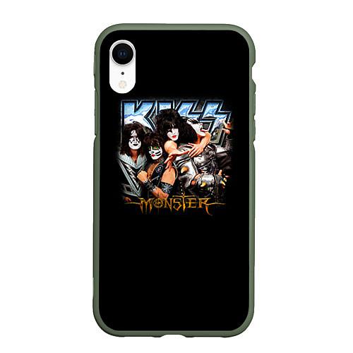 Чехол iPhone XR матовый Kiss Monster / 3D-Темно-зеленый – фото 1
