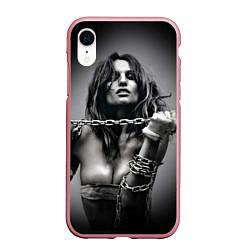 Чехол iPhone XR матовый Девушка с цепью цвета 3D-розовый — фото 1