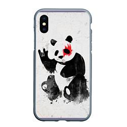 Чехол iPhone XS Max матовый Рок-панда цвета 3D-серый — фото 1
