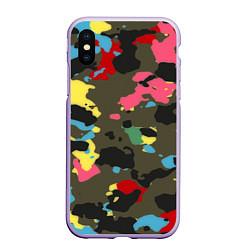 Чехол iPhone XS Max матовый Цветной камуфляж цвета 3D-светло-сиреневый — фото 1