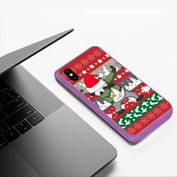 Чехол iPhone XS Max матовый Panda Dab: Xmas цвета 3D-фиолетовый — фото 2