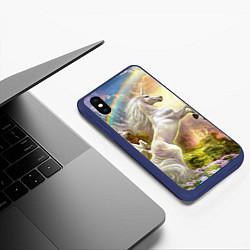 Чехол iPhone XS Max матовый Радужный единорог цвета 3D-тёмно-синий — фото 2