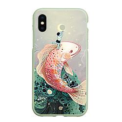 Чехол iPhone XS Max матовый Рыба цвета 3D-салатовый — фото 1