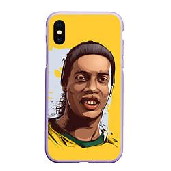 Чехол iPhone XS Max матовый Ronaldinho Art цвета 3D-светло-сиреневый — фото 1