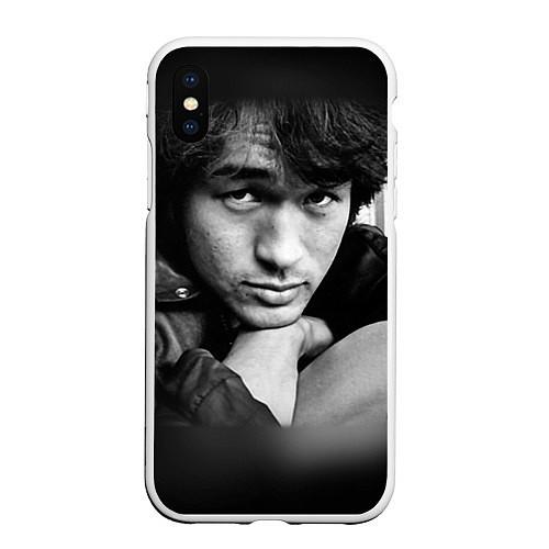 Чехол iPhone XS Max матовый Виктор Цой / 3D-Белый – фото 1