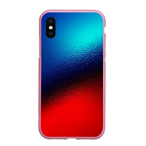 Чехол iPhone XS Max матовый Синий и красный / 3D-Розовый – фото 1