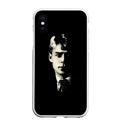 Чехол iPhone XS Max матовый Есенин Ч/Б / 3D-Белый – фото 1