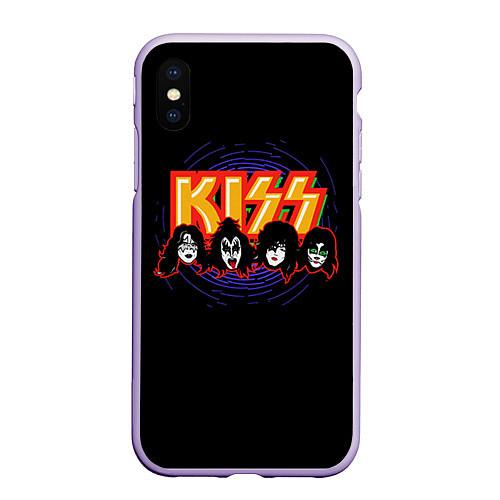 Чехол iPhone XS Max матовый KISS: Death Faces / 3D-Светло-сиреневый – фото 1