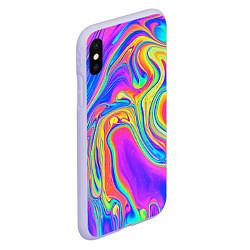 Чехол iPhone XS Max матовый Цветные разводы цвета 3D-светло-сиреневый — фото 2