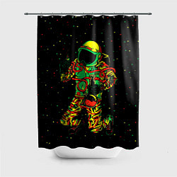 Шторка для душа Космонавт с кальяном цвета 3D-принт — фото 1