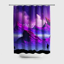 Шторка для душа No Man's Sky: Neon Mountains цвета 3D — фото 1