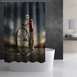 Шторка для душа Велогонщик цвета 3D — фото 2