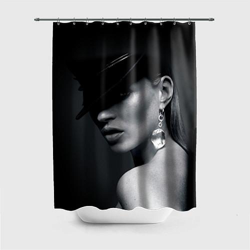 Шторка для ванной Девушка в шляпе / 3D – фото 1