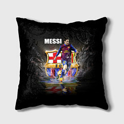 Подушка квадратная Messi FCB цвета 3D-принт — фото 1