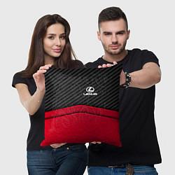 Подушка квадратная Lexus: Red Carbon цвета 3D-принт — фото 2