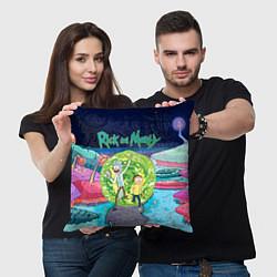 Подушка квадратная Путешествия Рика и Морти цвета 3D-принт — фото 2
