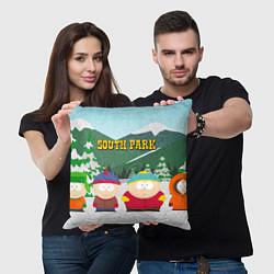 Подушка квадратная ЮЖНЫЙ ПАРК цвета 3D-принт — фото 2