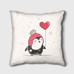 Подушка квадратная Влюбленный пингвин цвета 3D-принт — фото 1