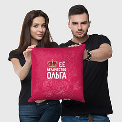 Подушка квадратная Её величество Ольга цвета 3D-принт — фото 2