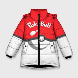 Куртка зимняя для девочки Покеболл цвета 3D-черный — фото 1