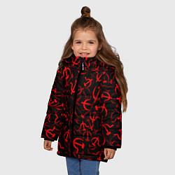 Куртка зимняя для девочки Серп и молот 2 цвета 3D-черный — фото 2